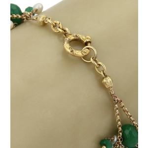 Vintage 18k Yellow Gold Emerald & Pearl Fancy Beaded Bracelet