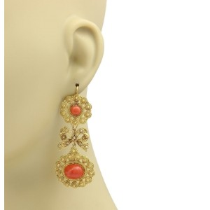 Vintage Coral 18k Yellow Gold Etruscan Design Bow Long Drop Dangle Earrings