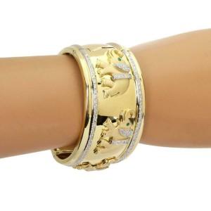 Estate 1.75ct Diamond Emerald 18k Two Tone Gold Wide Elephant Cuff Bracelet
