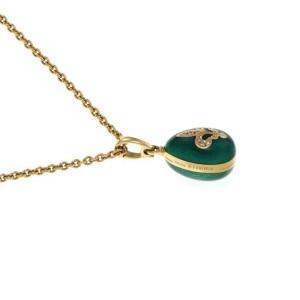 Faberge Diamond Green Enamel 18k Yellow Gold Egg Pendant & Chain