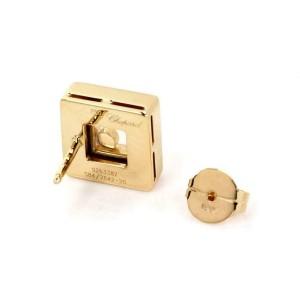 Chopard Happy Diamond 18k Yellow Gold Square Shape Stud Earrings