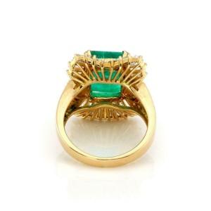 Estate 7.40ct Diamond & Emerald 18k Yellow Gold Cocktail Ring Size 6
