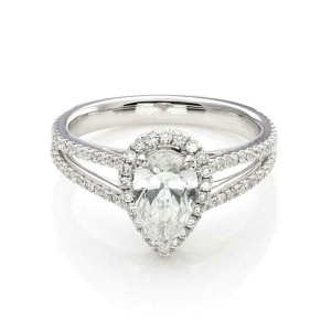 New Pear Cut 1.00ct Solitaire D SI2 Diamond w/Accent 18k Gold Ring GIA Cert