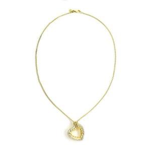 David Yurman Diamond 18k Yellow Gold Cable Heart Pendant & Chain