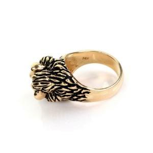 Estate Diamond & Ruby 14k Yellow Gold Lion Head Ring Size - 6.5