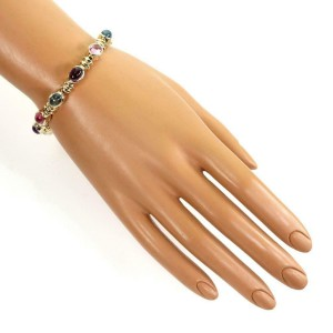 Estate 24 Carat Cabochon Gems 14k Yellow Gold Oval Link Bracelet