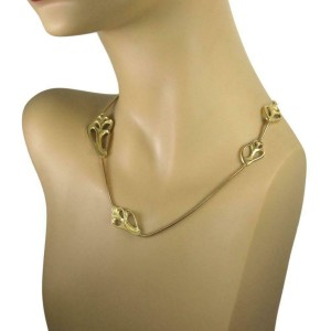 "Vintage Tiffany & Co 18k Gold Assorted Shell Station Snake Chain Necklace 29"" L"