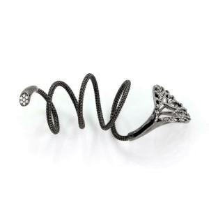 Designer Giova Diamonds 18k Black Gold Lilly Flower Long Flex Wire Ring