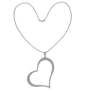 Piaget 2.00ct Diamond Large Open 18k Gold Heart Pendant & 14k WGold Chain