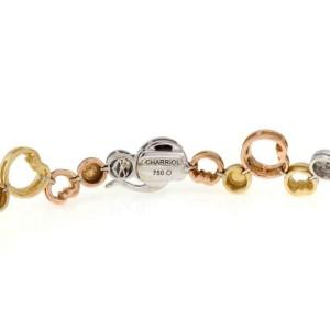 Philippe Charriol Diamond 18k Tri-Color Gold Hearts & Circle Link Bracelet