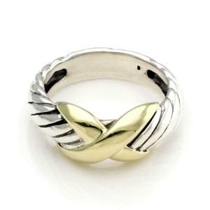 David Yurman Sterling Silver 14k Yellow Gold X Design Cable Band Ring