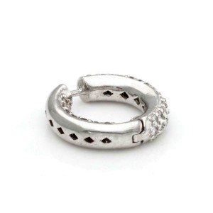 Estate 3.30ct Diamond Inside Out 14k White Gold Small Hoop Earrings