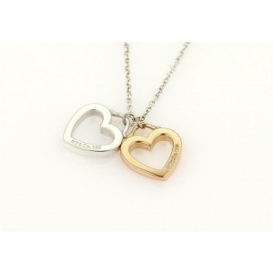 Tifffany & Co. Sterling & 18k Rose Gold Open Double Heart Pendant & Chain