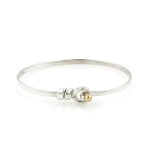 Tiffany & Co. Sterling Silver 18k Gold 3mm Wide Hook & Eye Bangle Bracelet