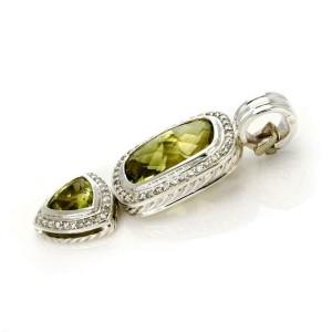David Yurman Diamond & Peridot  Sterling Silver 2 Tier Pendant
