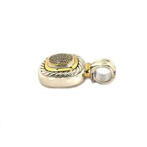 David Yurman Albion Diamond Sterling Silver 18k Gold Cable Pendant