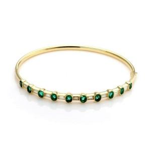 Estate 3.50 Carats Diamond Emerald 18k Yellow Gold Hinged Bangle