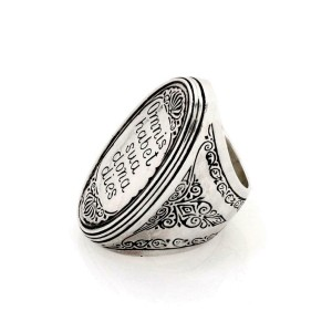 Konstantino Omnis Habet Sterling Silver Gold Large Long Top Ring Size 6