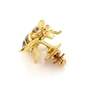Herbert Rosenthal Diamond & Ruby 18k Yellow Gold Bee Tie Tack Pin