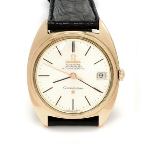 Omega Constellation Automatic 18k Rose Gold Date Men's Watch Leather Band