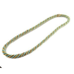 """Vintage Turquoise 18k Yellow Gold 10mm Thick Twisted Rope Necklace 28"""" Long"""