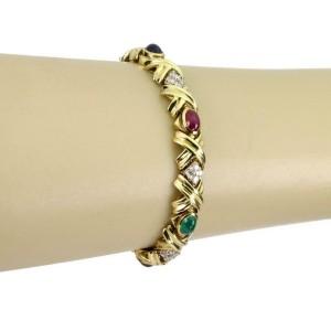Estate 1 Carat Diamond Multi-Color Gems 18k Gold X Link Bracelet