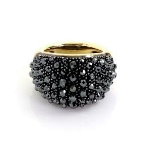 David Yurman Osetra Hematite 18k Gold 925 Silver Beaded Dome Band Ring