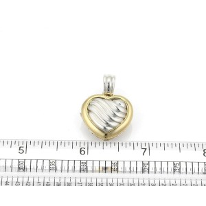 David Yurman Sterling Silver 18k Yellow Gold Cable Heart Locket Pendant