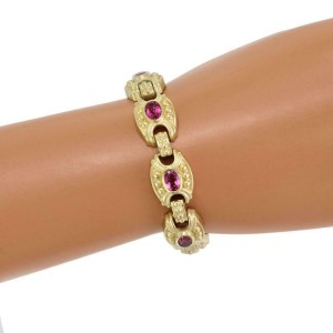 Judith Ripka 9.00ct Pink Tourmaline 18k Yellow Gold Fancy Link Bracelet