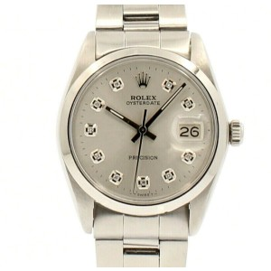 ROLEX OysterDate Precision 6694 Stainless Steel Silver Dial Diamond Watch