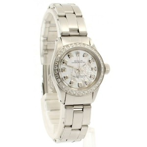 ROLEX Oyster Perpetual 25mm White MOP Dial Steel Diamond Ladies Watch