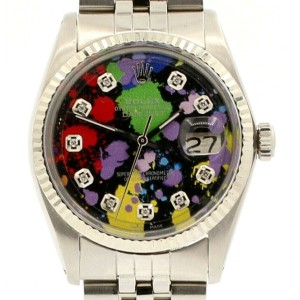Mens Vintage ROLEX Oyster Perpetual Datejust 36mm MULTI COLOR Diamond Dial Watch