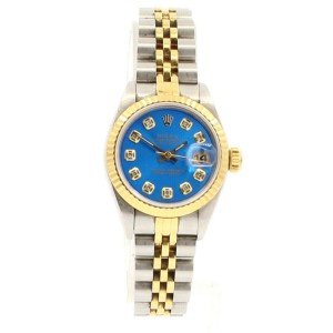Ladies ROLEX Oyster Perpetual Datejust 26mm SHINY BLUE Diamond Dial  Watch