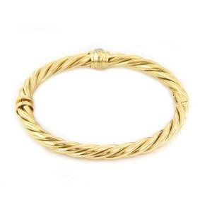 David Yurman Diamond 18k Yellow Gold 6mm Cable Bangle Bracelet
