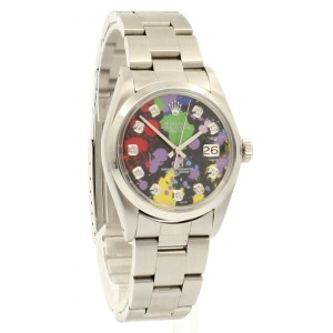 Mens Vintage ROLEX Oyster Perpetual Date 34mm MULTI COLOR Diamond Dial Watch