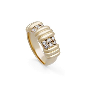 Dior 18K Yellow Gold Vintage 2 Section Diamond Ring Size 8.75