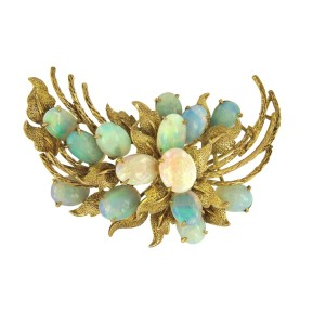 14K Yellow Gold with Antique Natural 0.40ct. Opals Brooch