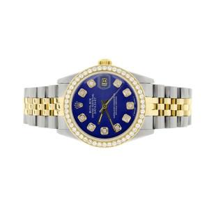Rolex Datejust 2-Tone 18K Gold/SS Midsize 31mm Womens Watch with Blue Dial & Diamond Bezel