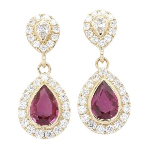 18K Yellow Gold with 0.67ct. Diamond and 1.24ct. Ruby Earrings