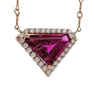 14K Rose Gold with 4.33ct Pink Tourmaline Rubelite & Diamond Pendant Necklace