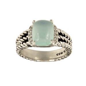 David Yurman 925 Sterling Silver Blue Chalcedony 0.08ctw. Diamonds Petite Wheaton Ring Size 7