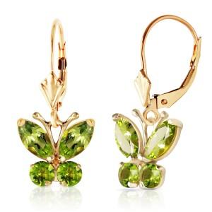 1.24 CTW 14K Solid Gold Butterfly Earrings Peridot