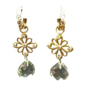 Erica Courtney 18K Yellow Gold Diamond & Green Amethyst Earrings