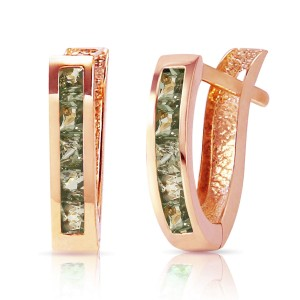 1.3 CTW 14K Solid Rose Gold Huggie Earrings Green Natural Sapphire