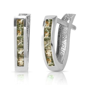 1.3 CTW 14K Solid White Gold Huggie Earrings Green Natural Sapphire
