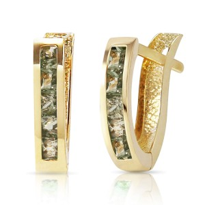 1.3 CTW 14K Solid Gold Huggie Earrings Green Natural Sapphire