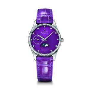 ZENITH Elite Lady Moonphase 16.2310.692/92.C750 Purple Alligator 33mm Womens Watch