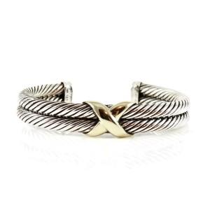 David Yurman Sterling Silver 14K Yellow Gold 2-Row X  Bracelet