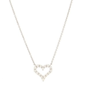 Tiffany & Co. Sentimental Heart Necklace Platinum with Diamonds Small
