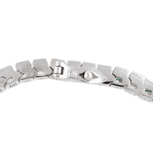 18k White Gold Diamond And Emerald Bracelet